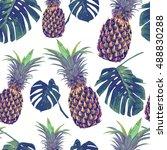 pineapples  tropical jungle... | Shutterstock .eps vector #488830288