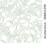 peony seamless pattern. floral... | Shutterstock .eps vector #488831398