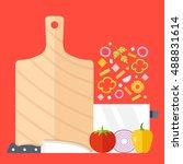 cutting board  knife  saucepan... | Shutterstock .eps vector #488831614