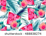 watermelons  tropical flowers ... | Shutterstock .eps vector #488838274
