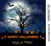 spooky card for halloween. blue ... | Shutterstock .eps vector #488838718