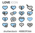 vector flat line love icons set ... | Shutterstock .eps vector #488839366