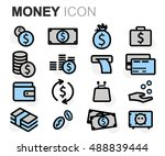 vector black line money icons... | Shutterstock .eps vector #488839444