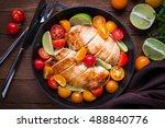 sliced chicken breasts with... | Shutterstock . vector #488840776
