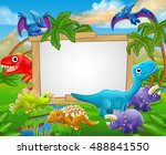 a sign surrounded by cute... | Shutterstock .eps vector #488841550