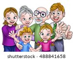 cartoon family with parents ... | Shutterstock .eps vector #488841658