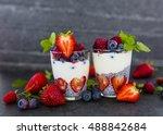 yogurt with fresh berries fruit ... | Shutterstock . vector #488842684