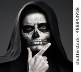 scary death ponders supporting... | Shutterstock . vector #488843938