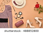 autumn fashion woman clothes... | Shutterstock . vector #488852800