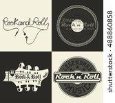 set of  monochrome rock music... | Shutterstock .eps vector #488860858