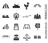 amusement park icons set in... | Shutterstock . vector #488861260