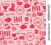 love lettering pattern | Shutterstock .eps vector #488864563