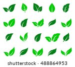 Stock vector green abstract leaf icons natural set on white background vector illustration 488864953