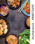 chinese food on black... | Shutterstock . vector #488872690
