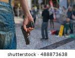 gun control concept. armed man  ...   Shutterstock . vector #488873638