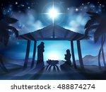christmas nativity scene of... | Shutterstock . vector #488874274