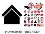 base building icon with bonus... | Shutterstock .eps vector #488874334