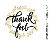 thankful handwritten lettering. ... | Shutterstock .eps vector #488878714