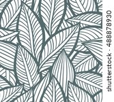 vector pattern with leaves.... | Shutterstock .eps vector #488878930
