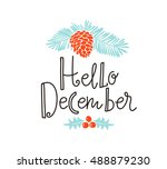 christmas sprig of pine with... | Shutterstock .eps vector #488879230