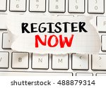 Small photo of Register now./ Register now card with information on the keyboard