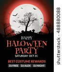 halloween flyer or poster... | Shutterstock .eps vector #488880088