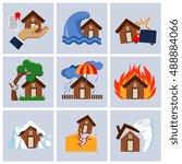 natural disaster insurance ... | Shutterstock .eps vector #488884066
