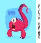 big collection of cute monsters.... | Shutterstock .eps vector #488891890