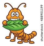 worm eating leaf cartoon... | Shutterstock .eps vector #488901199