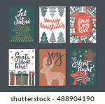collection of six christmas... | Shutterstock .eps vector #488904190
