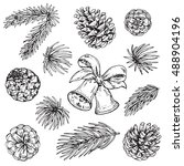 collection of pine cones and... | Shutterstock .eps vector #488904196