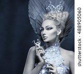 portrait of winter queen   Shutterstock . vector #488905060