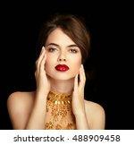red lips makeup. beauty girl... | Shutterstock . vector #488909458