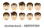 man emoji set on white... | Shutterstock .eps vector #488909584