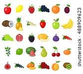 fruits set on white. fruits... | Shutterstock . vector #488909623