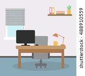 modern office interior. simple... | Shutterstock .eps vector #488910559