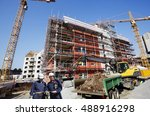 two construction workers inside ... | Shutterstock . vector #488916298