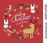 christmas background. wreath....   Shutterstock .eps vector #488916988