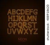neon 3d alphabet. typographic... | Shutterstock .eps vector #488918620