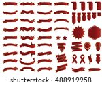 banner red vector icon set on... | Shutterstock .eps vector #488919958