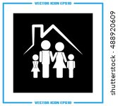 family and house icon vector | Shutterstock .eps vector #488920609
