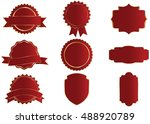 label vector icon set red color ... | Shutterstock .eps vector #488920789