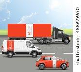 red transport advertising... | Shutterstock .eps vector #488929690