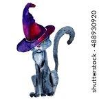 scary halloween  black cat...   Shutterstock . vector #488930920
