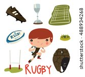 rugby equipment set. rugby cute ... | Shutterstock .eps vector #488934268