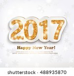the gold glitter new year 2017... | Shutterstock .eps vector #488935870