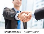 businessman making handshake  ... | Shutterstock . vector #488940844