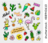 fashion patch badges. tropical... | Shutterstock . vector #488943610