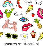 seamless pattern with fashion... | Shutterstock . vector #488943670