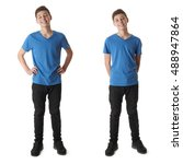 cute teenager boy in blue t... | Shutterstock . vector #488947864